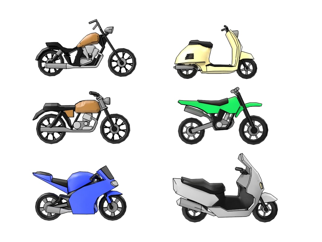 motorcycle cartoon 3D model