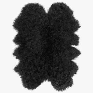 wool sheepskin black rug 3D model
