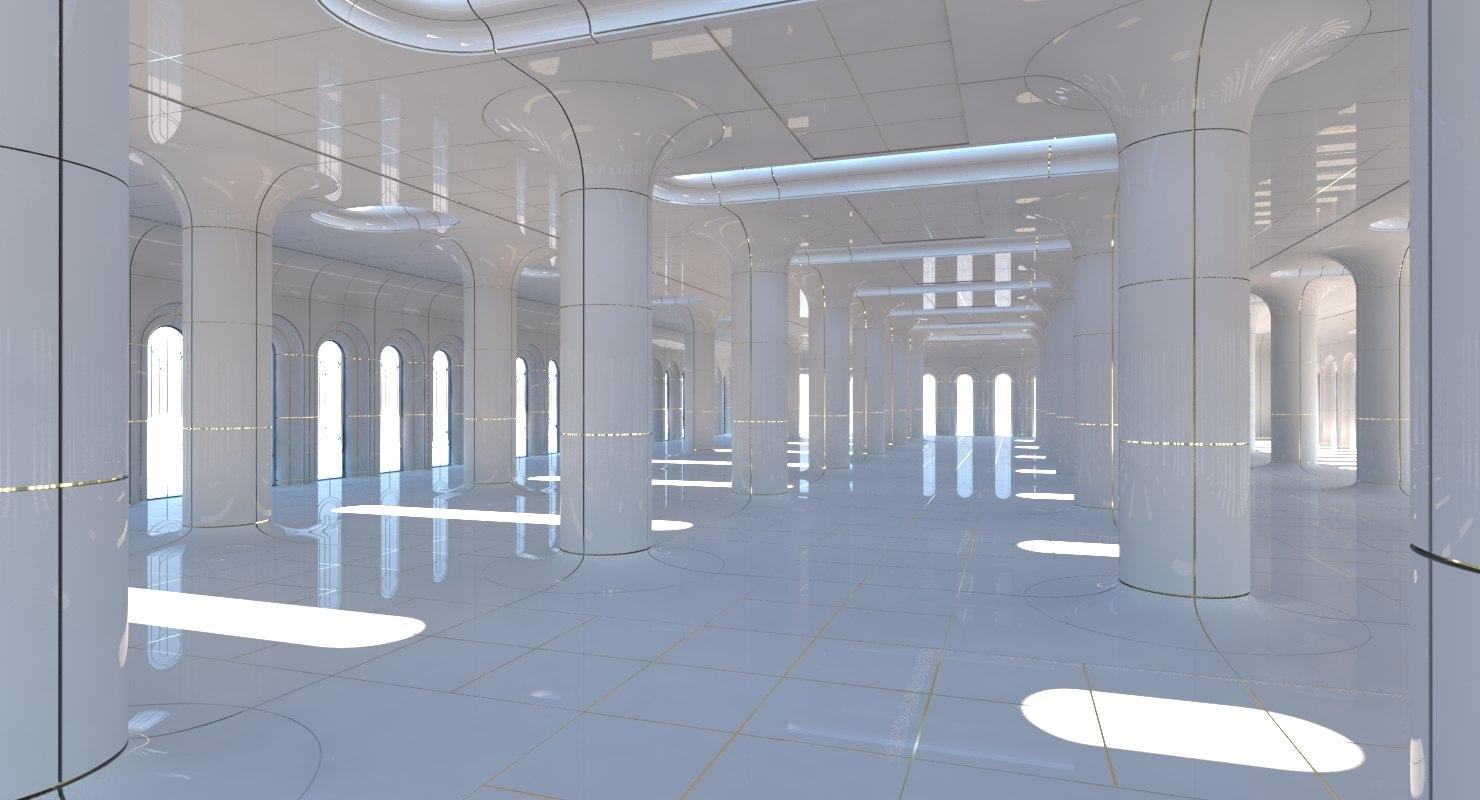 3D classic futuristic interior scene model