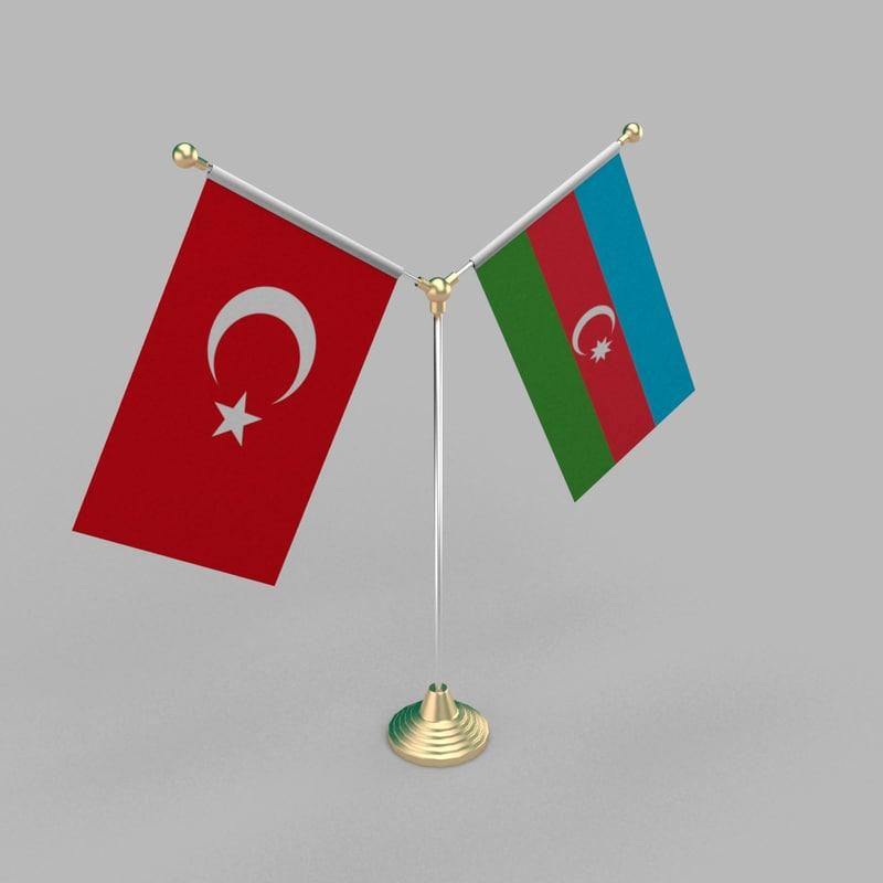 3D model table friendship flag