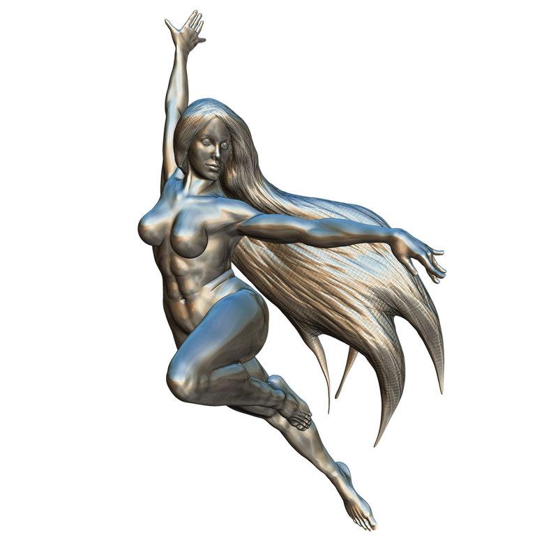 dynamic female statue 3D