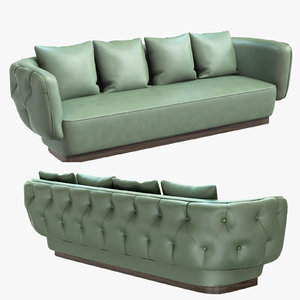 3D simon tufted upholstered sofa interior