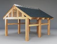 realistic wooden carport 3D