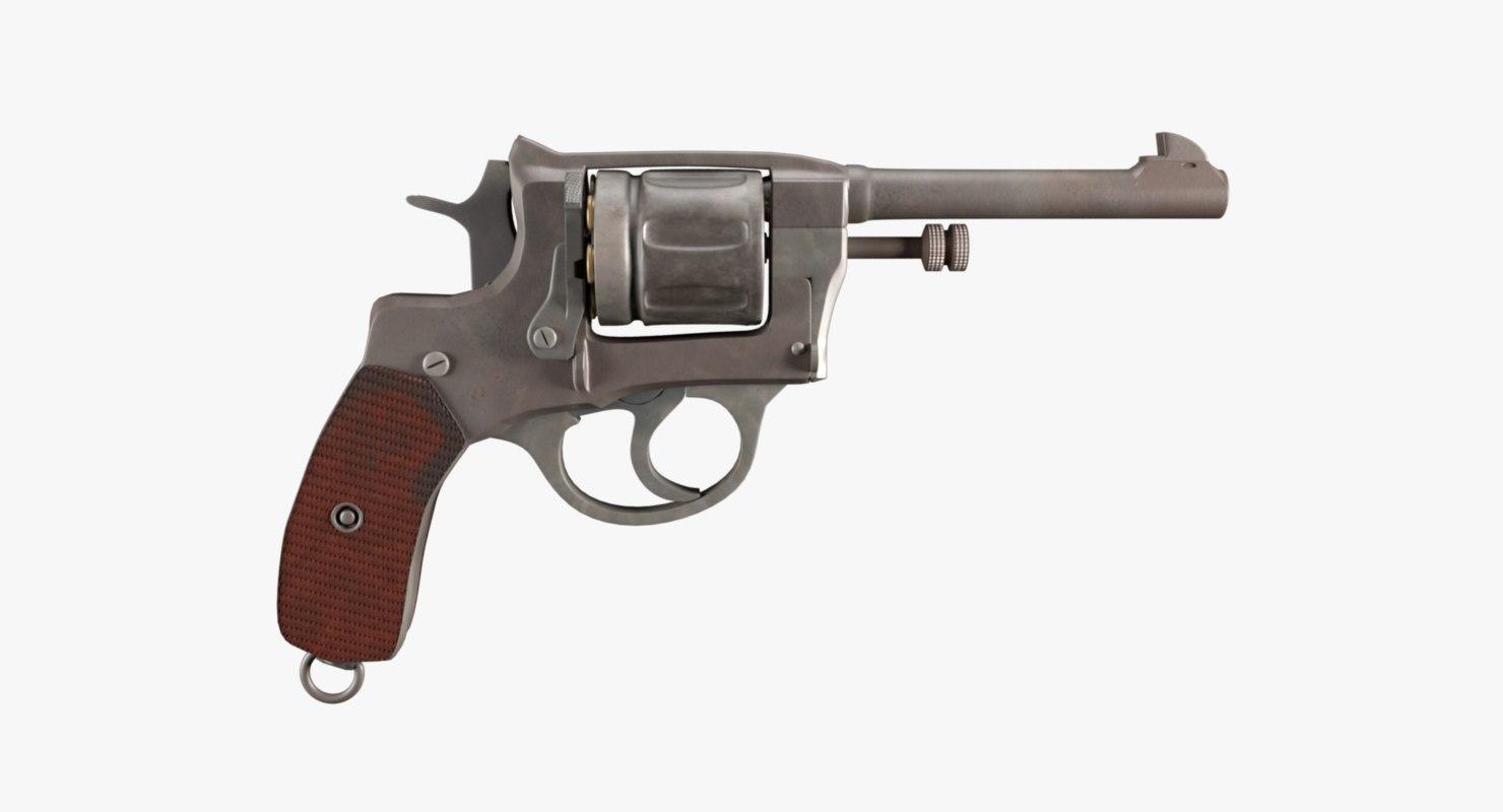 3D revolver nagant model