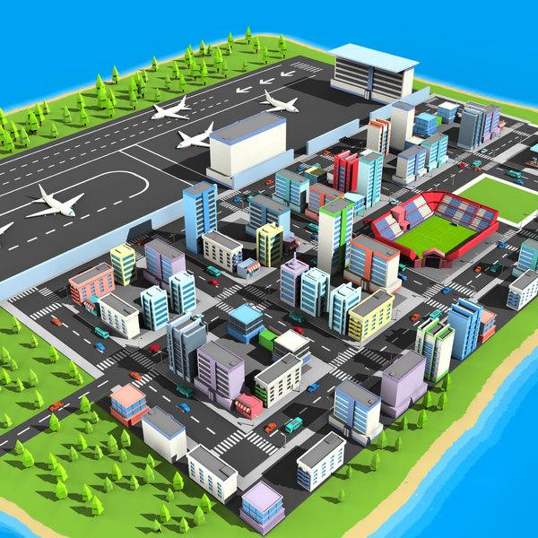 city cartoon architecture 3D model