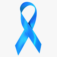 blue ribbon awareness symbol 3D