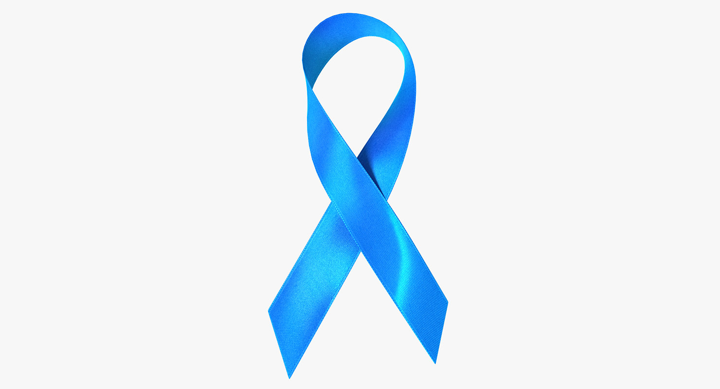 blue ribbon awareness symbol 3D