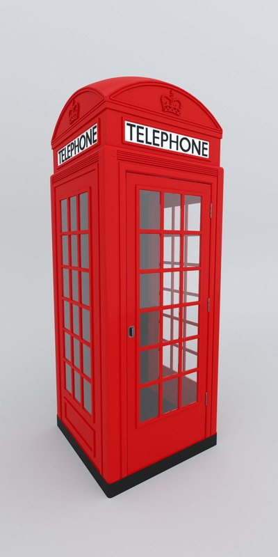 3D british phone booth telephone model