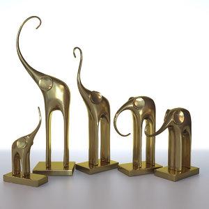 3D model elephants figurines