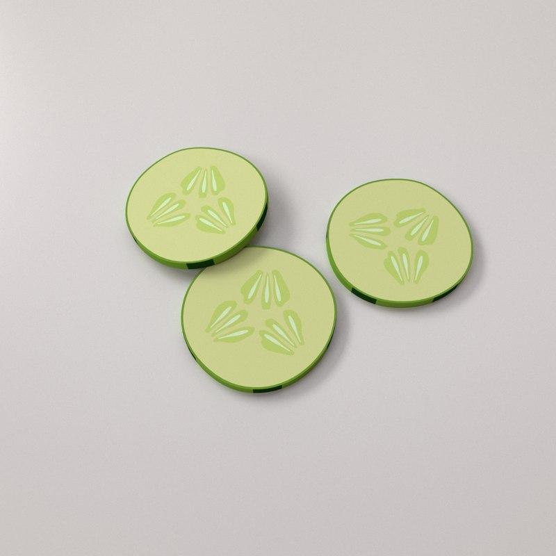 3D model cucumber slices