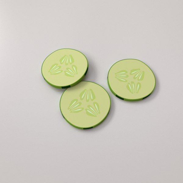 3D model cucumber slices