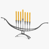 hand forged candlestick menorah 3D model