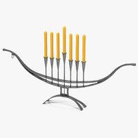 hand forged candlestick menorah 3D model