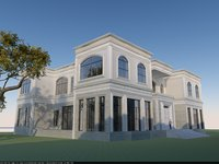 3D european styled mansion model