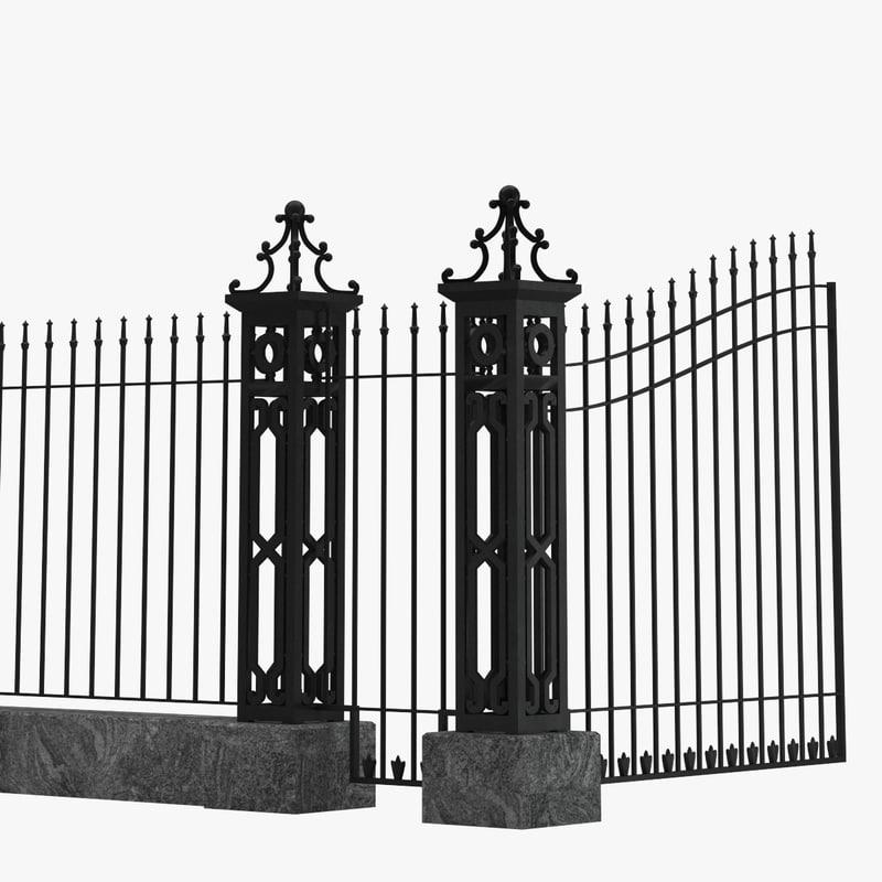 3D fence railing gate street model