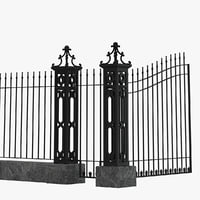 3D fence railing gate street model