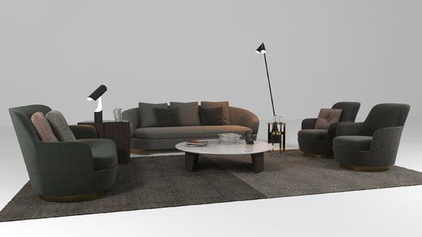 minotti sofa 3D model