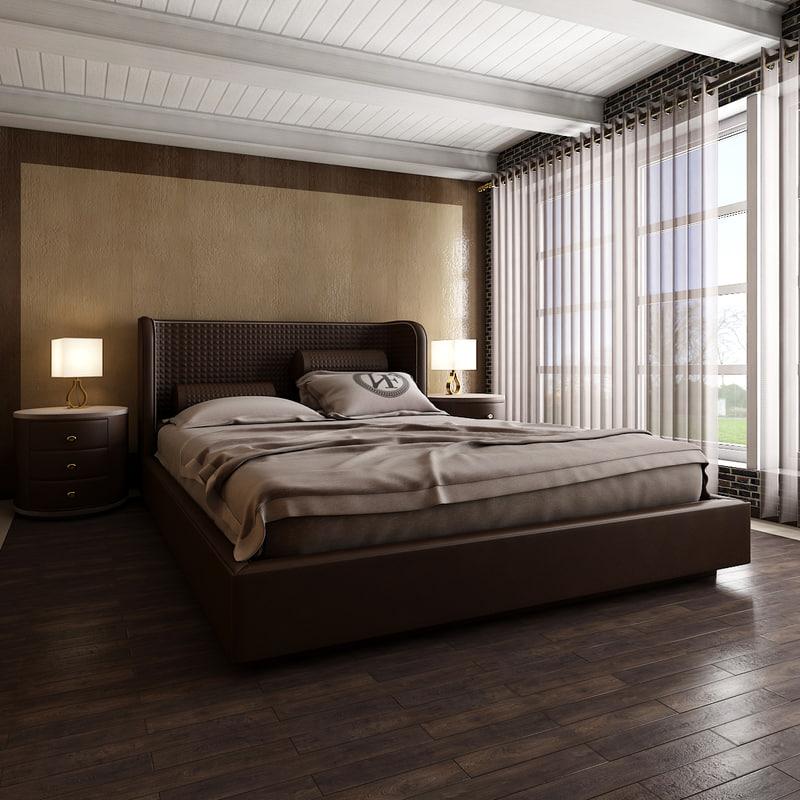 3D model bedroom interior scene