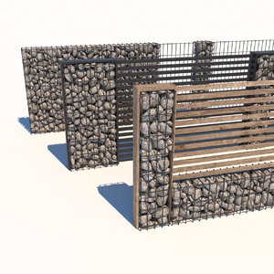 3D model gabion landscape garden