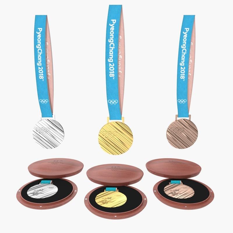 olympic medals set 2018 3D