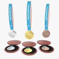 olympic medals set 2018 3D