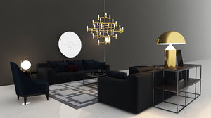 modern sofa armchair 3D model