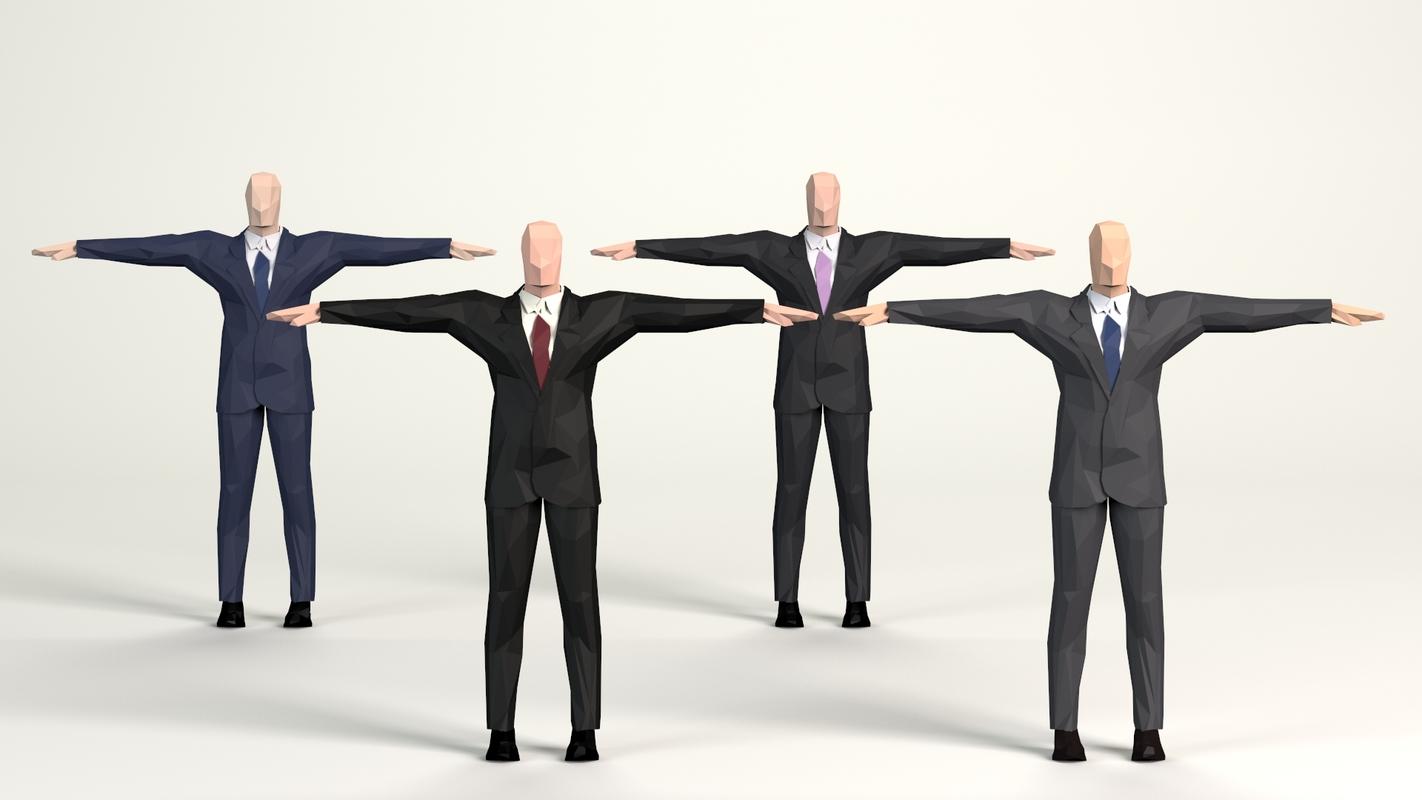 3D cartoon men business