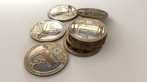 litecoin coin 3D model