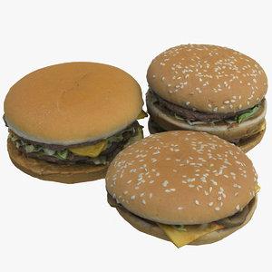 realistic hamburgers 3D model