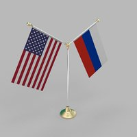 United States of America & Russian Federation Friendship Table Flag