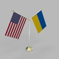 United States of America & Ukraine Friendship Table Flag