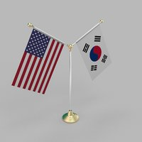 United States of America & South Korea Friendship Table Flag