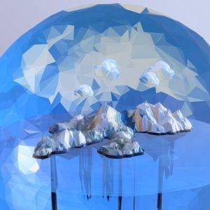 art snow island mountain 3D