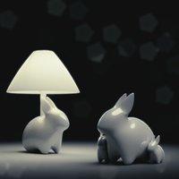 3D porcelain rabbit table lamp