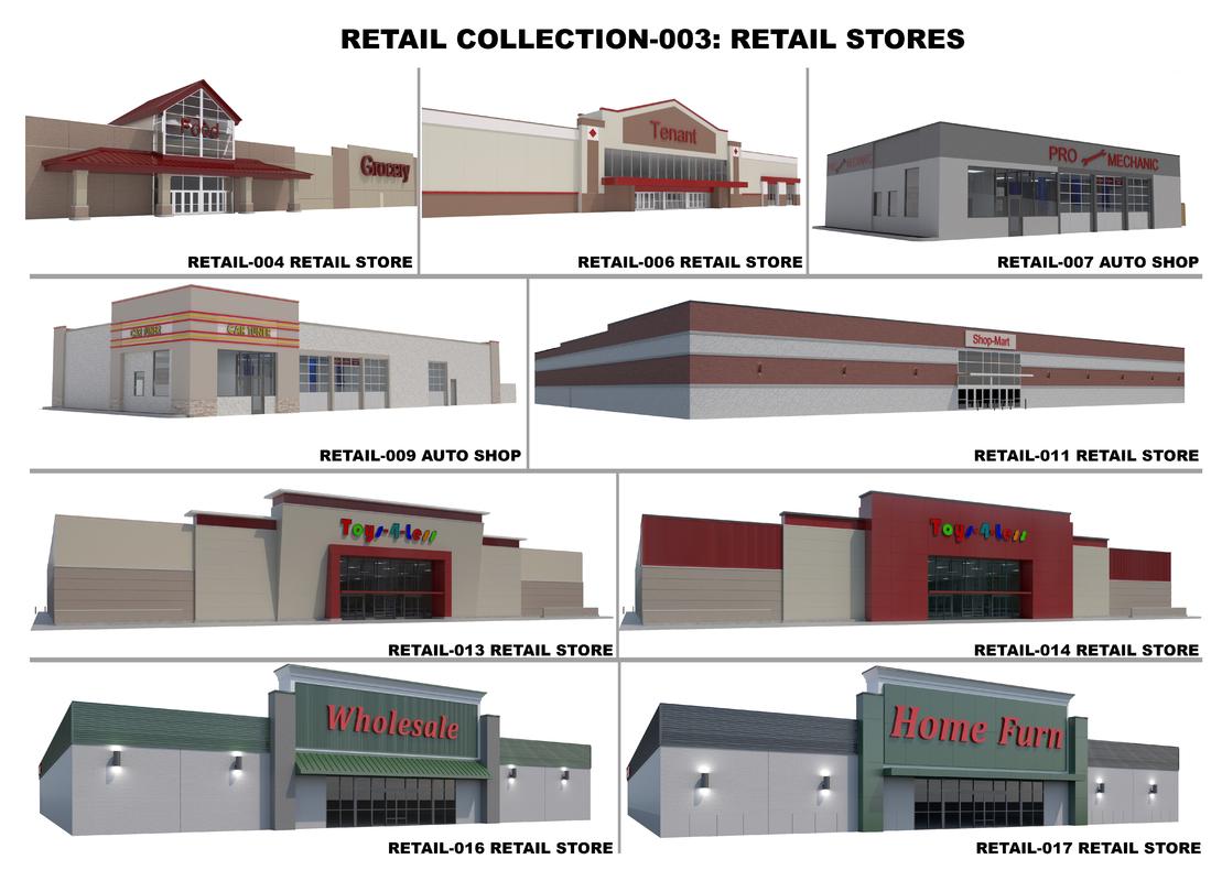 retail stores shops building 3D