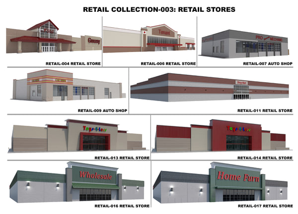 retail stores shops building 3D