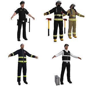 emergency people pack police 3D