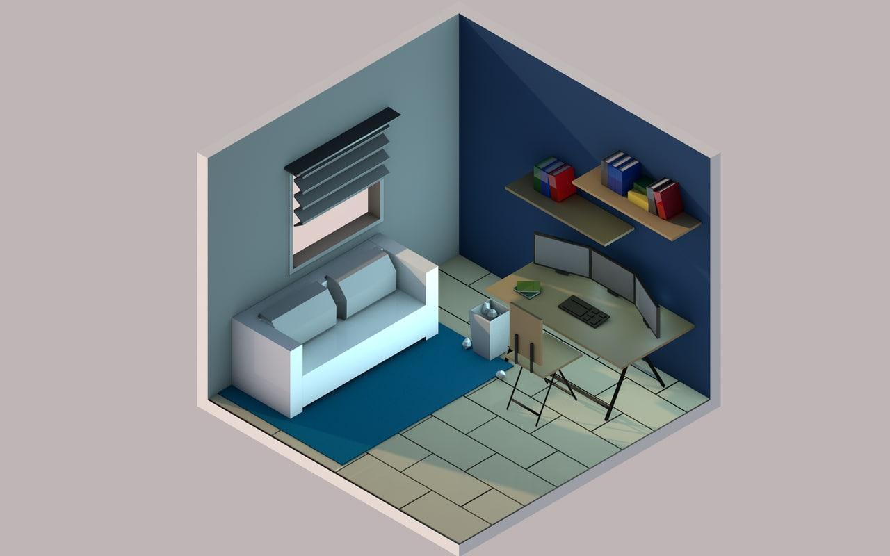 3D room table model