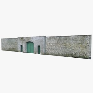 3D old stone wall model