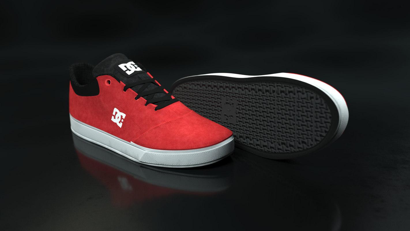 3D model dc shoe red -