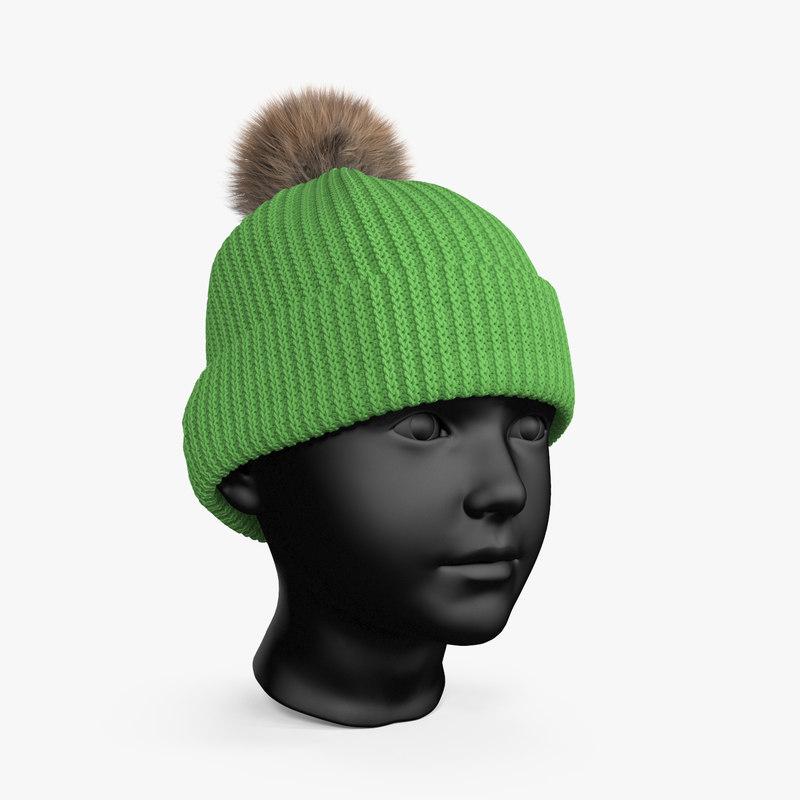 winter hat green 3D model