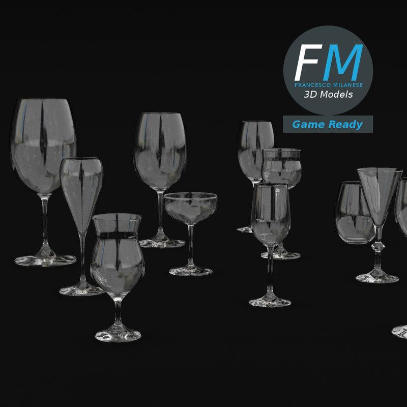 3D wine glasses gr model