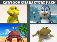 cartoon rigged characters 3D model