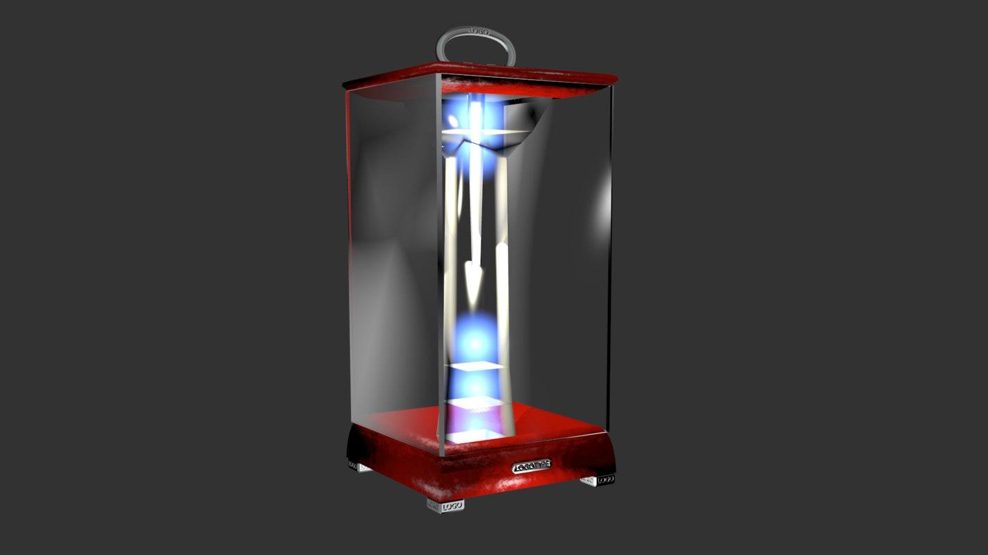 portable designer lamp red 3D model