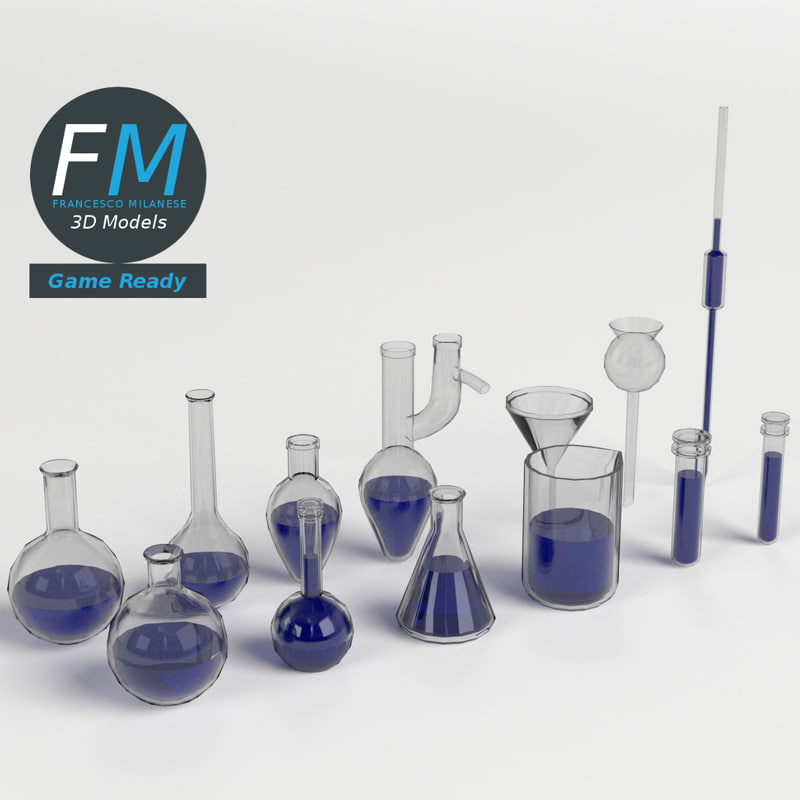 laboratory glassware set 3d model