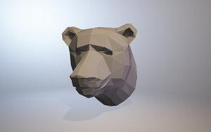 low-poly bear 3D model
