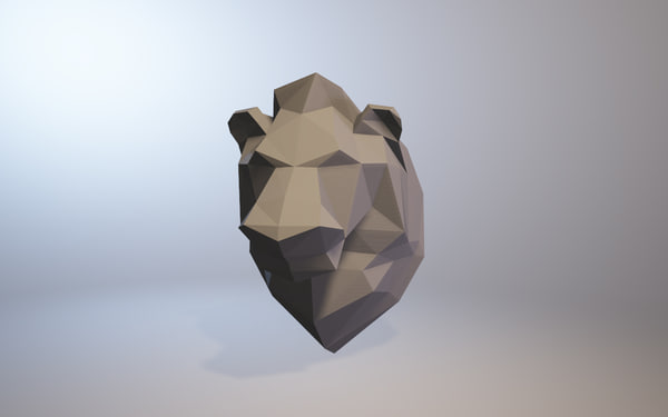 low-poly lion 3D model