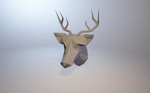 3D low-poly deer model