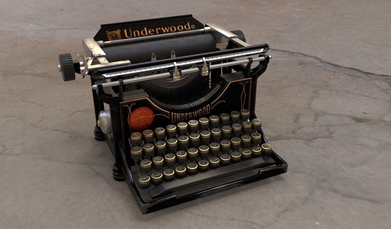 vintage typewriter underwood 3D model