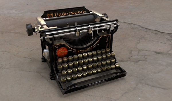 vintage typewriter underwood 3D model